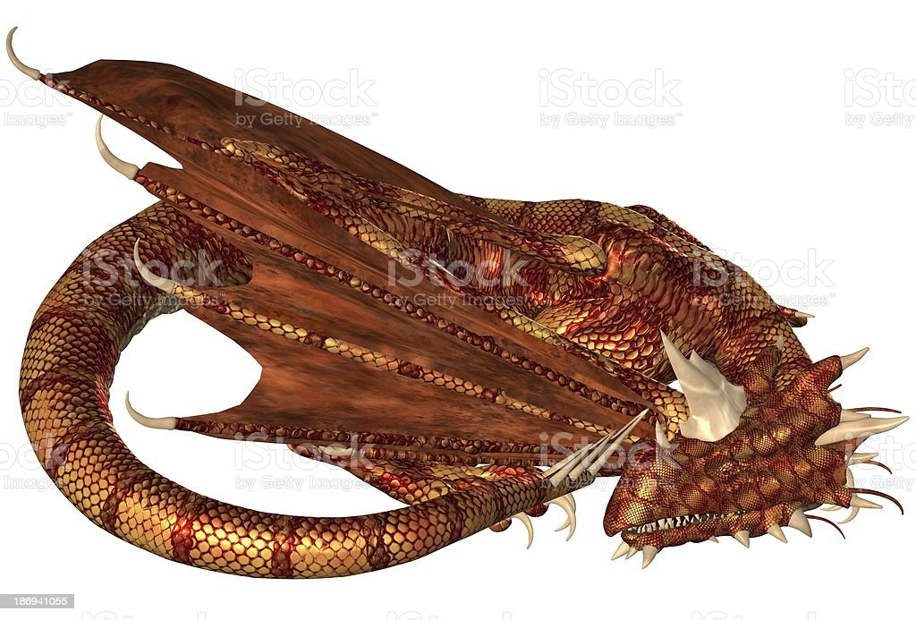 Red Scaled Dragon Sleeping royalty-free stock photo