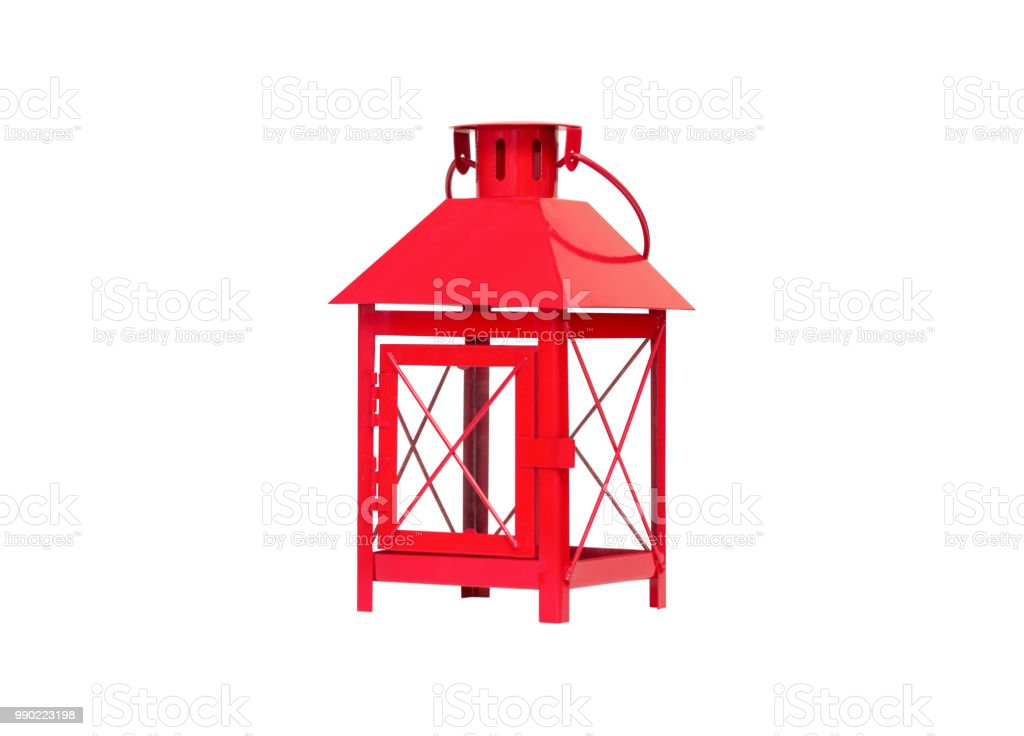red scandinavian style lantern isolated on white background