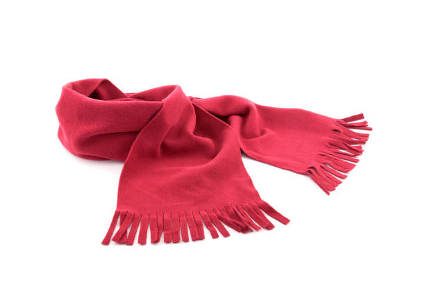 red scarf on white background - cachecol imagens e fotografias de stock