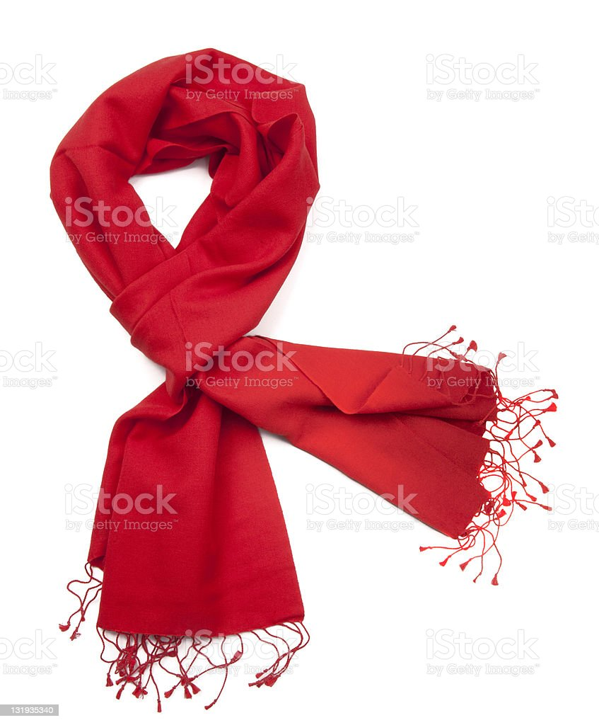 Red scarf or pashmina stock photo