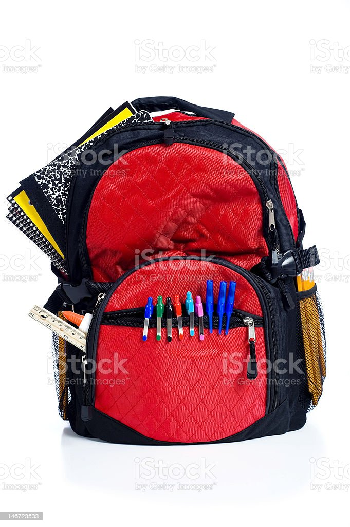 Red School Back Pack stock photo