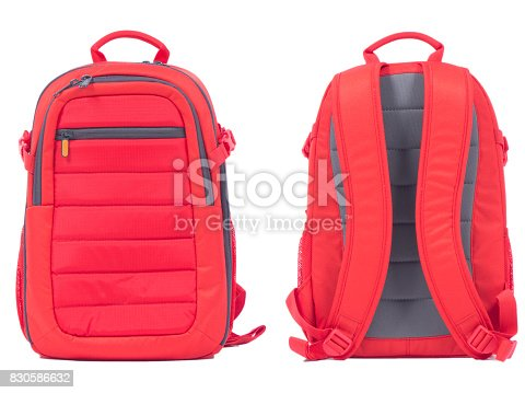 istock Red school backpack on white background 830586632