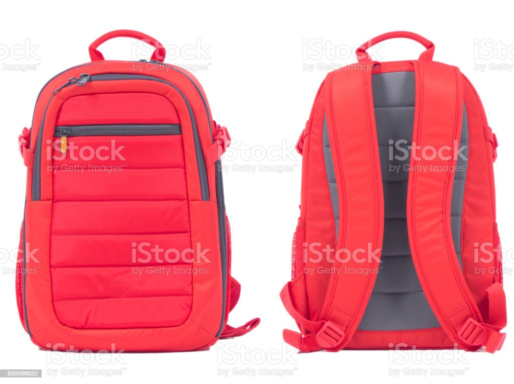 Red school backpack on white background stock photo