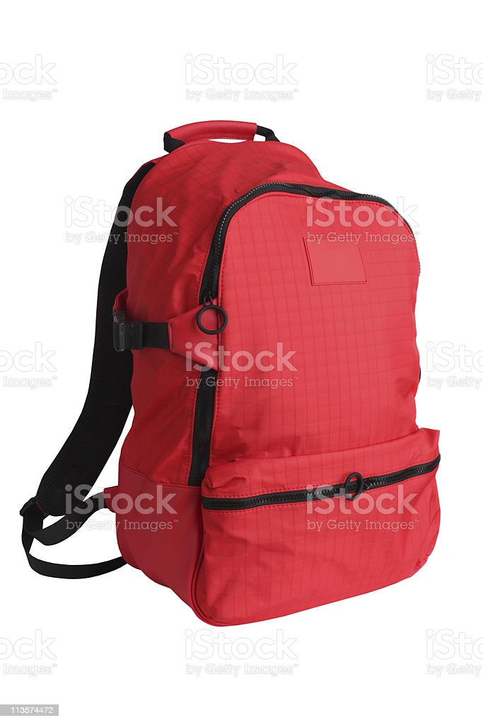 Red school backpack stock photo