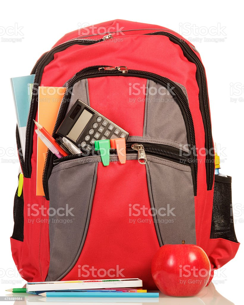Red school backpack with apple stock photo