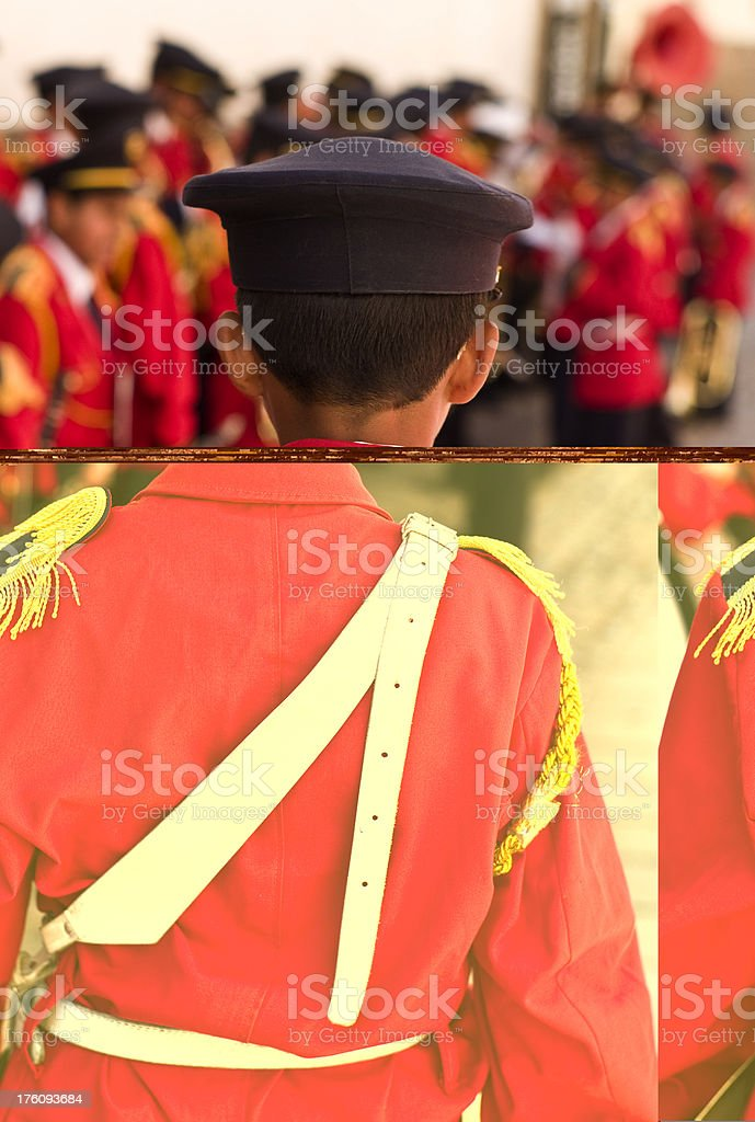 Red School Band member in Peru royalty-free stock photo