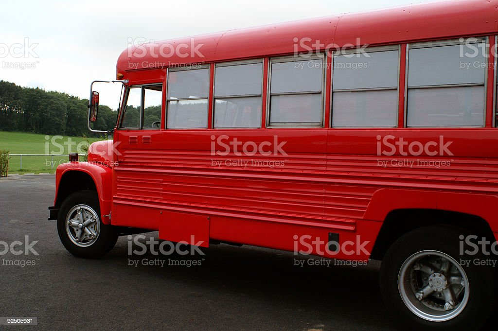 Red School Bus 4 royalty-free stock photo