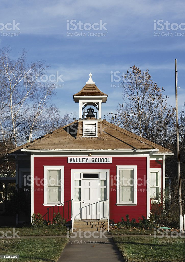 red school house stock photo