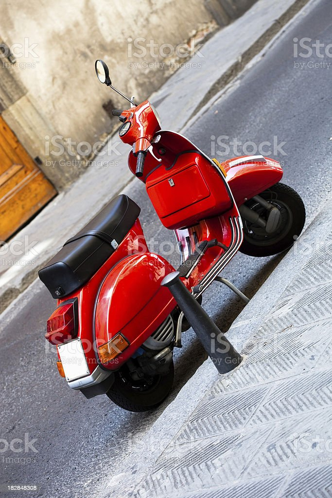 red scooter in italy royalty-free stock photo