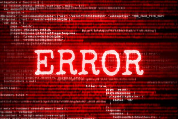 roter bildschirm mit code und inschrift fehler - fehlermeldung stock-fotos und bilder