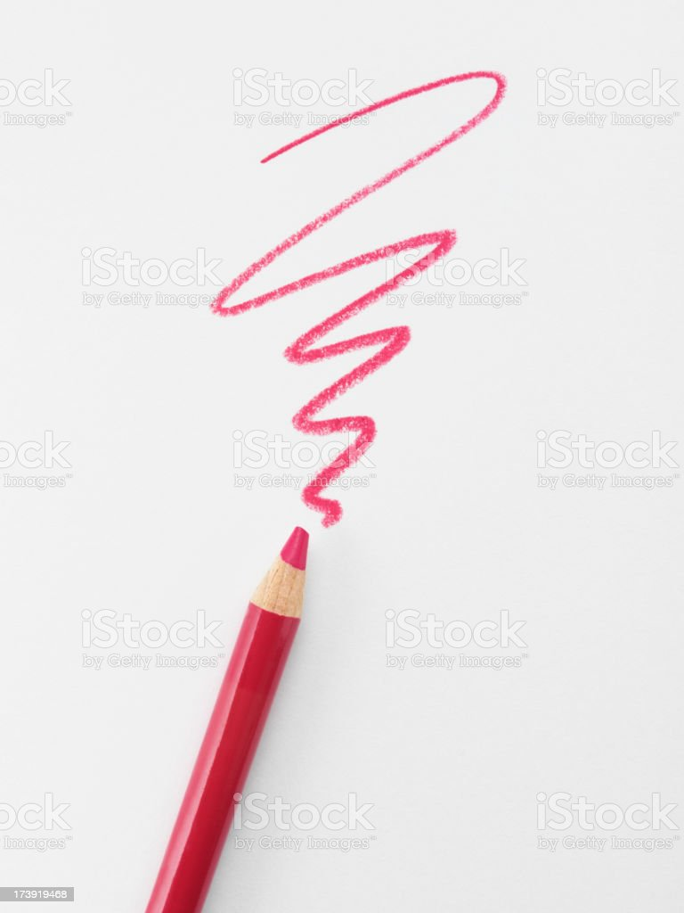 Red Scribble and Pencil stock photo