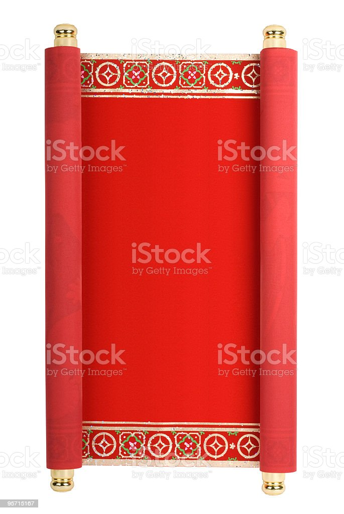 A red scroll in relation to Chinese New Year royalty-free stock photo