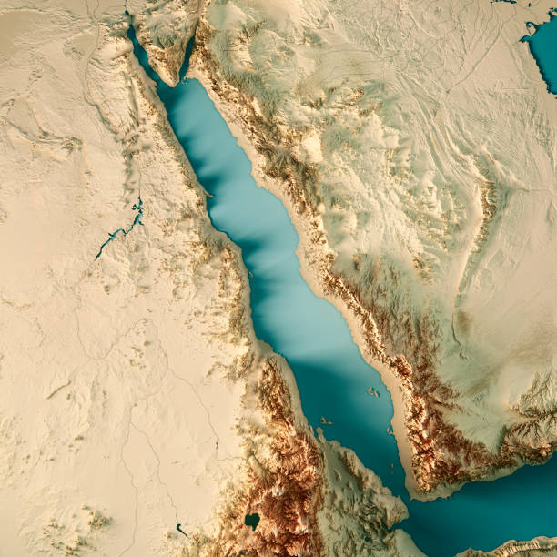 red sea 3d render topographic map color - eritrea stock photos and pictures
