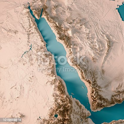 istock Red Sea 3D Render Topographic Map Neutral 1019849314