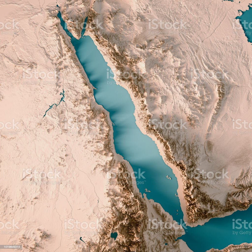 Red Sea 3D Render Topographic Map Neutral stock photo