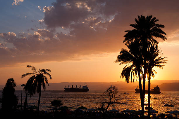 Red Sea at Aqaba in Jordan stock photo