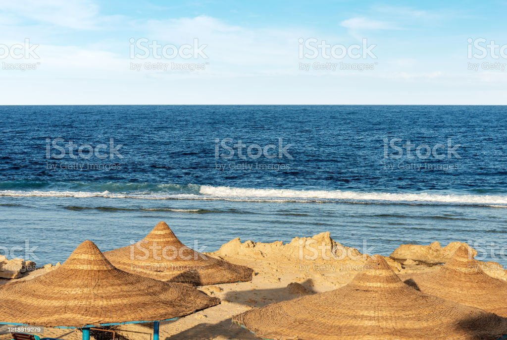 Red Sea Beach With Straw Umbrellas Marsa Alam Egypt Africa Stock Photo Download Image Now Istock