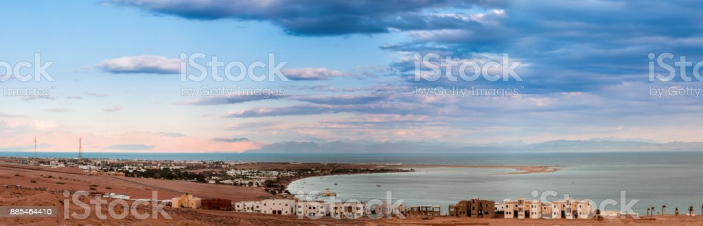 Red sea Lagoon in Dahab town, Egypt stock photo