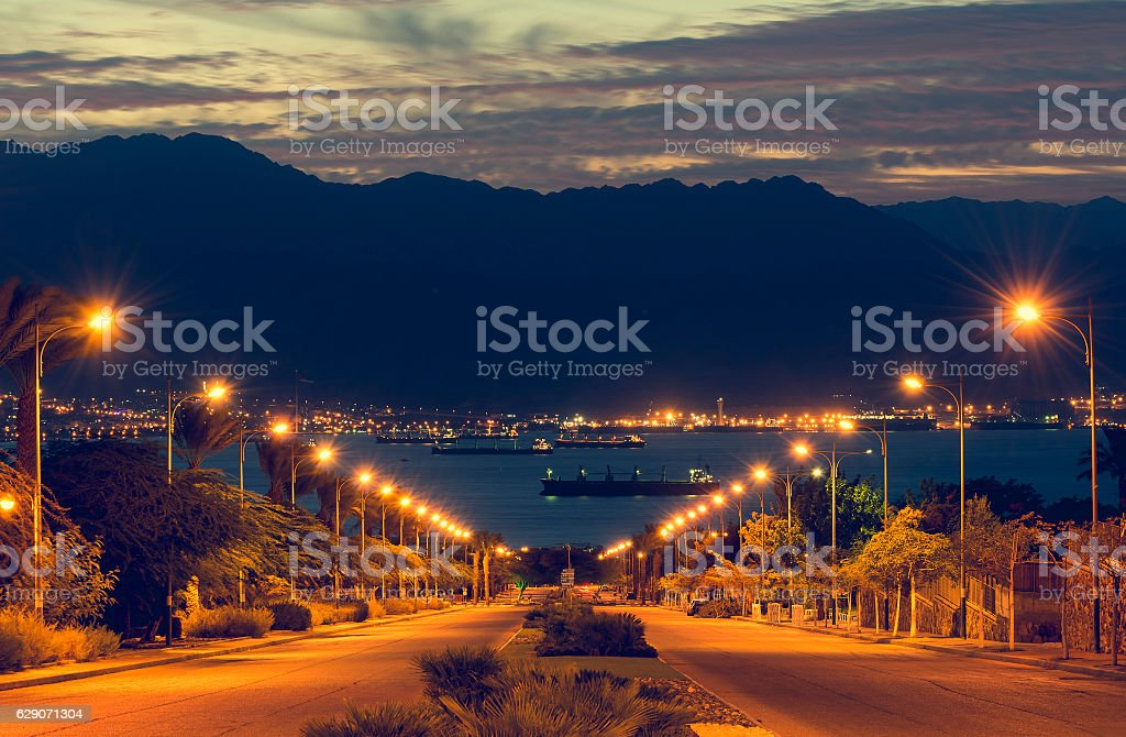 Red Sea, view from the longest street in Eilat stock photo