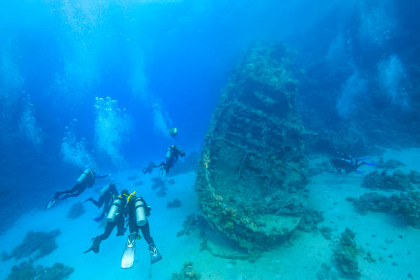 Red Sea Wreck Diving Survey wreck in the Red Sea, Egypt sunken stock pictures, royalty-free photos & images