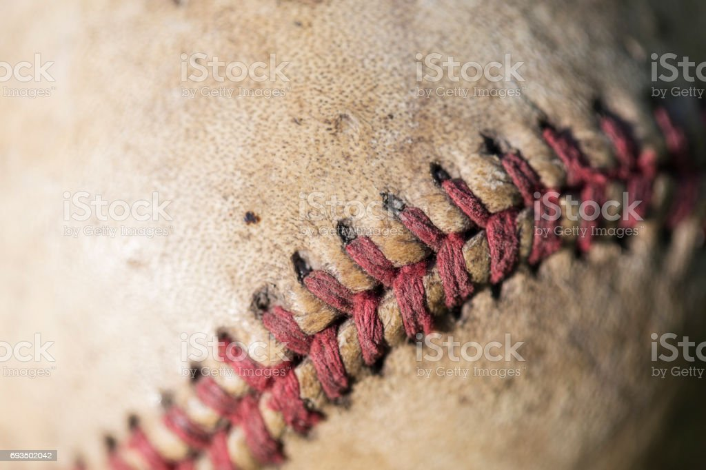 Red Seam on Vintage Baseball stock photo