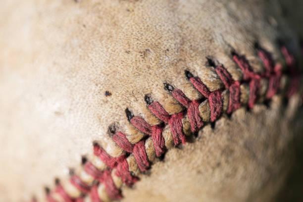 Red Seam on Vintage Baseball stock photo