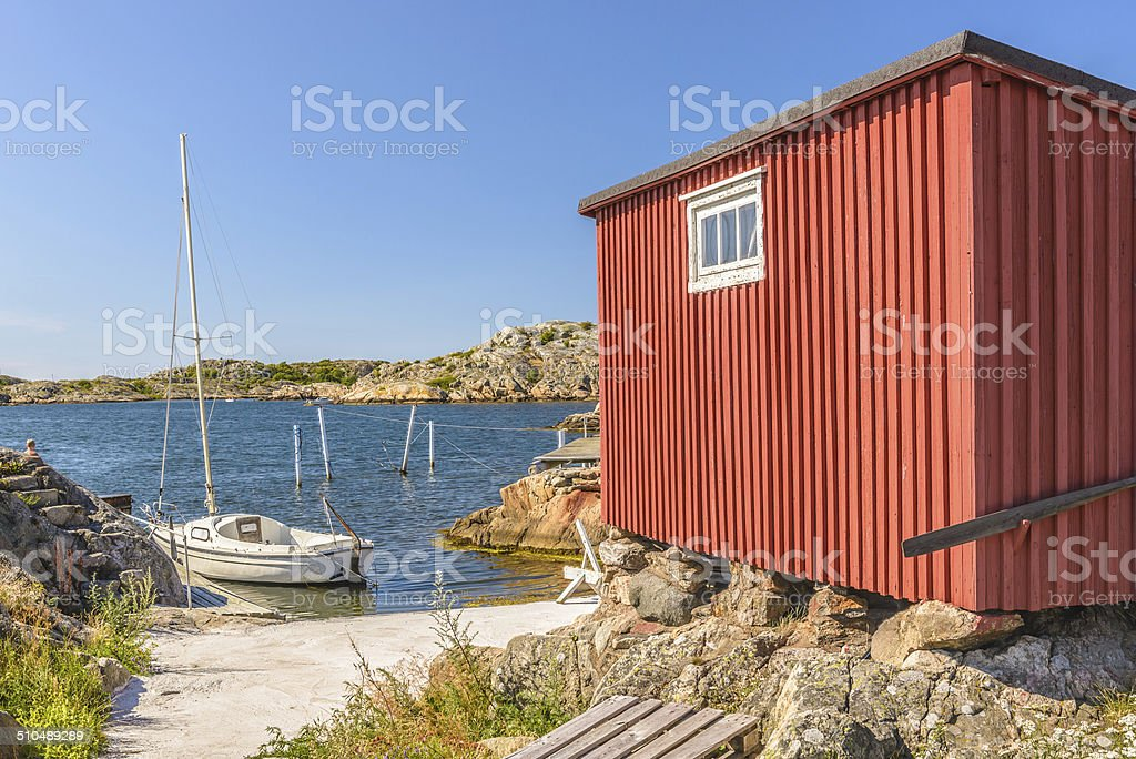 Red Seaside Fishing Hut stock photo