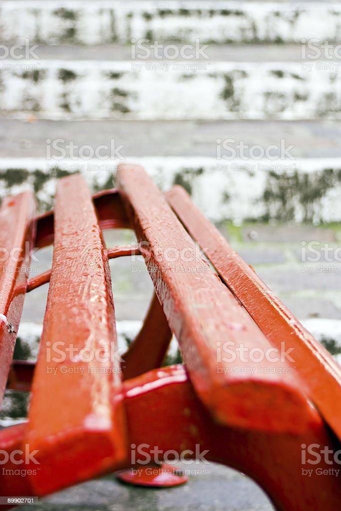 Rote Platz und weißen Treppe Lizenzfreies stock-foto