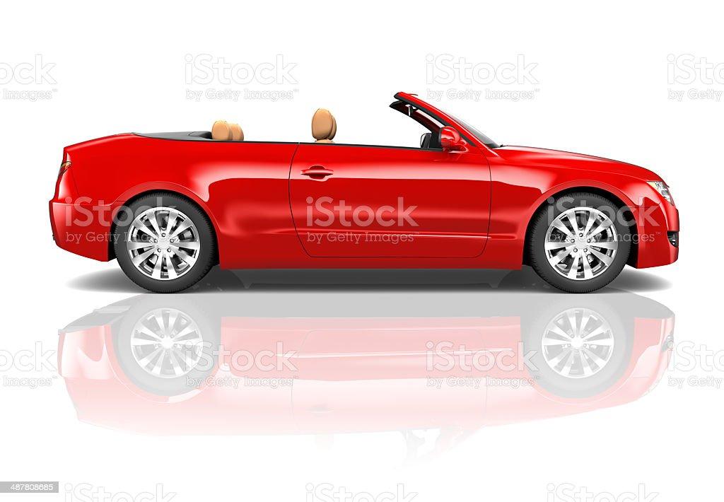 Red Sedan Convertible stock photo