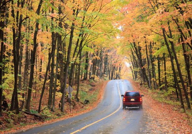 Red Sedan Driving Through Beautiful Fall Highway
