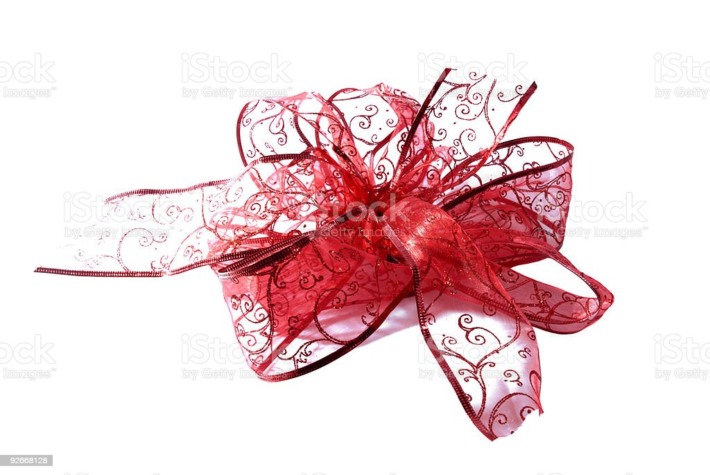 red see-through bow and ribbon on an isolated white background royalty-free stock photo