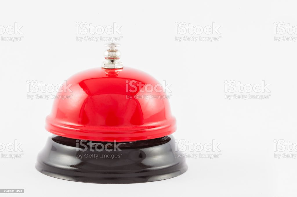 Red service desk bell isolated stock photo