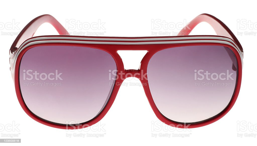 Red Seventies Style Sunglasses on White royalty-free stock photo