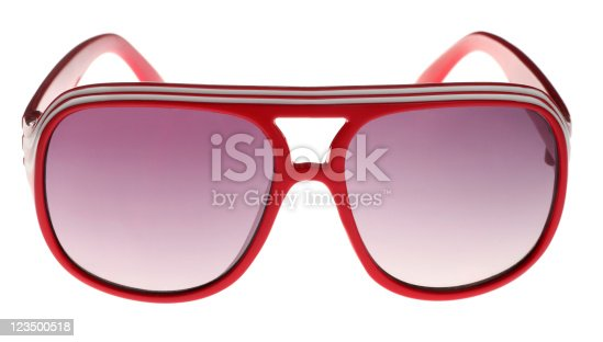 istock Red Seventies Style Sunglasses on White 123500518