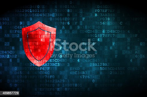 istock Red shield on a digital background 459857729