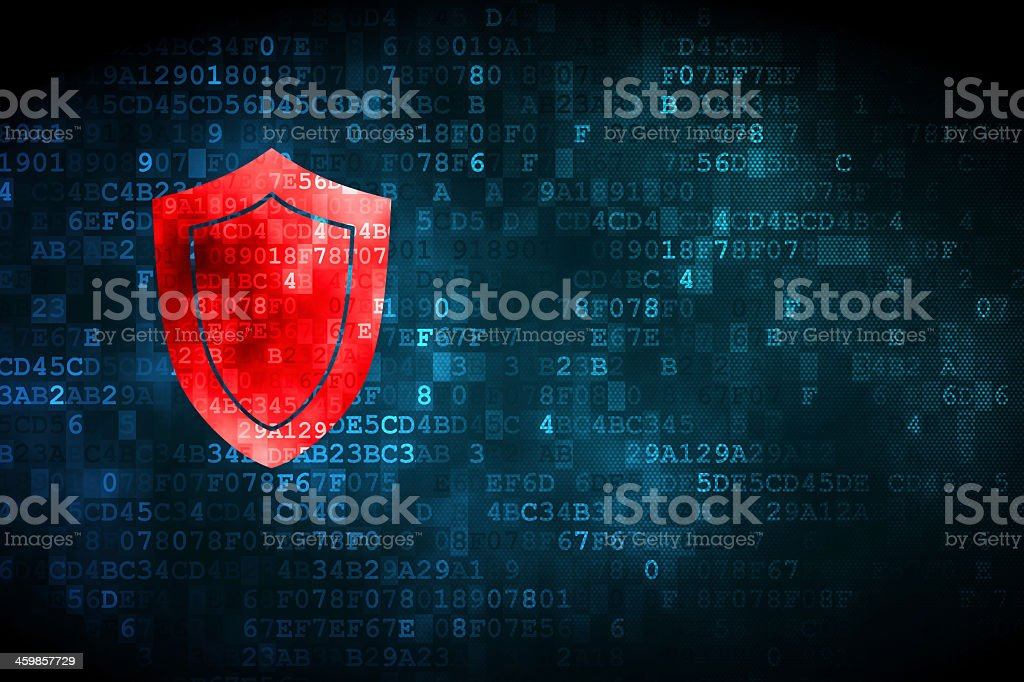 Red shield on a digital background stock photo