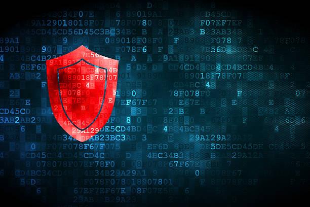 concept de sécurité: Bouclier sur fond numérique - Photo