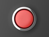 Red Shiny Button With Metallic Elements Isolated on Black Background