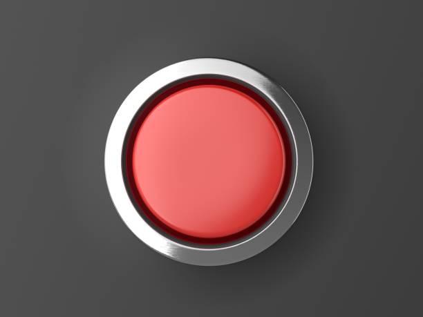Botón rojo brillante con elementos metálicos aislados en fondo negro - foto de stock
