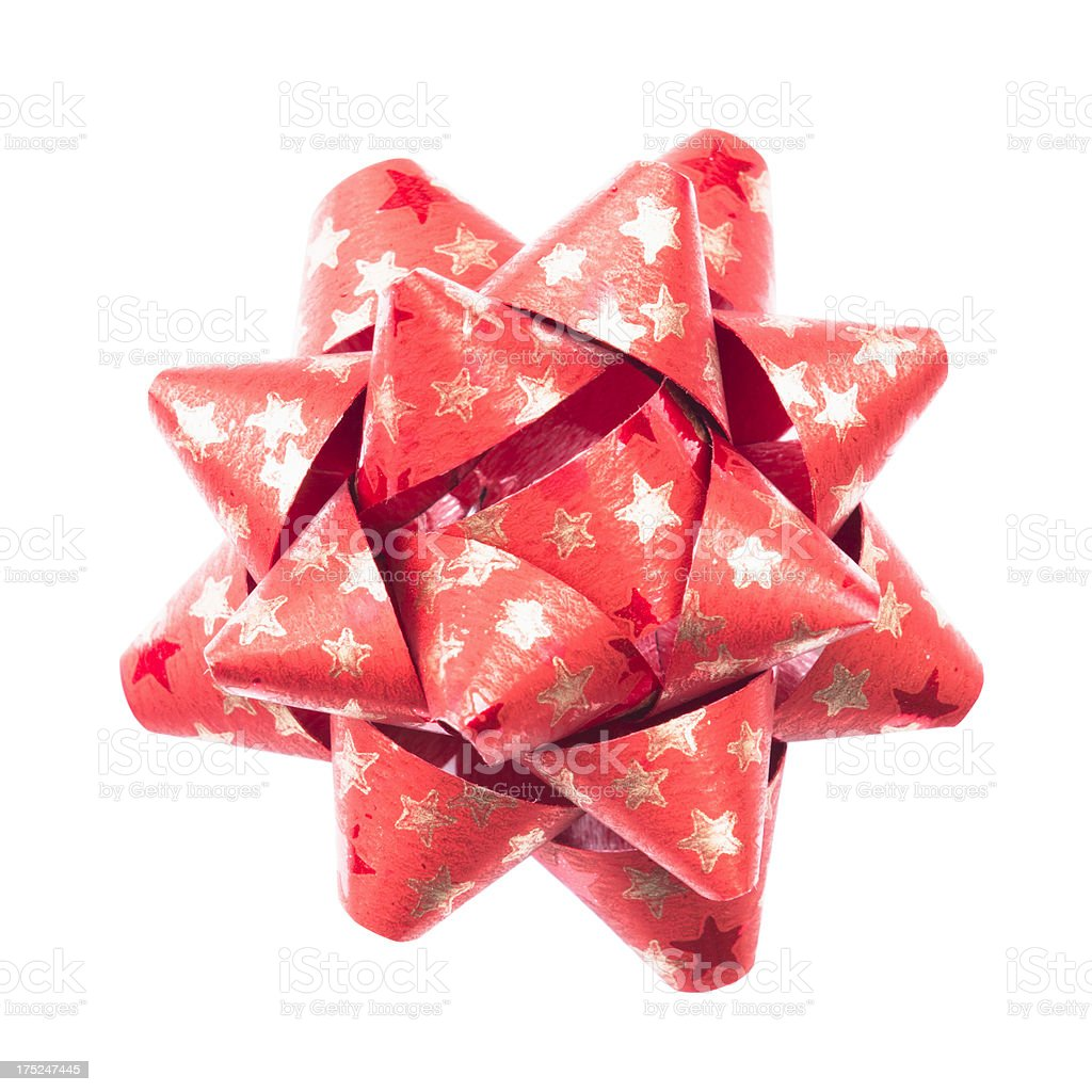 Red shiny paper bow for christmas decoration royalty-free stock photo