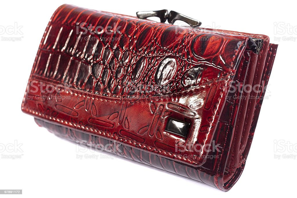Red shiny purse isolated on white. royalty-free stock photo