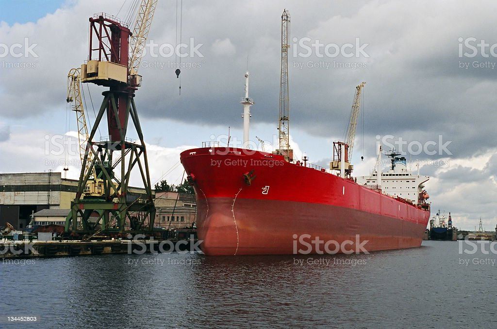 Red ship at docks royalty-free stock photo