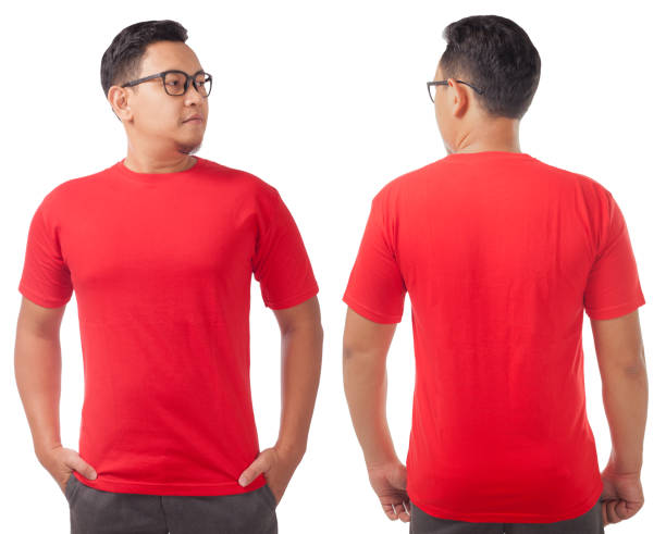Red Shirt Design Template Red t-shirt mock up, front and back view, isolated on white. Male model wear plain red shirt mockup. Tshirt design template. Blank tee for print red shirt stock pictures, royalty-free photos & images