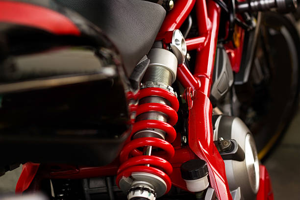 Red Shock Absorber's and frame motorcycle stock photo