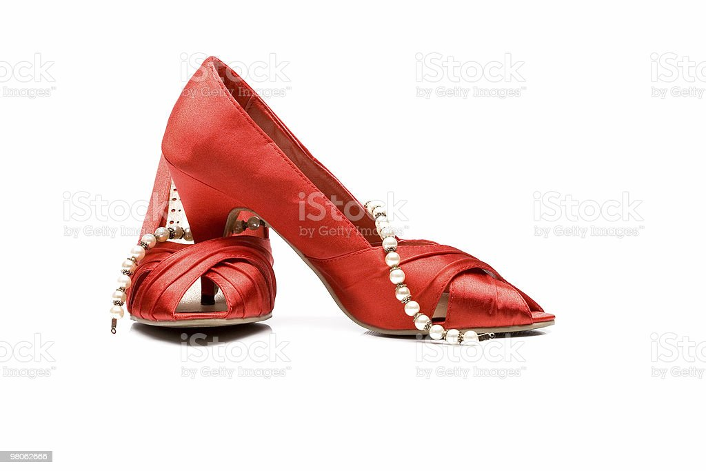 Red shoes and pearl royalty-free stock photo