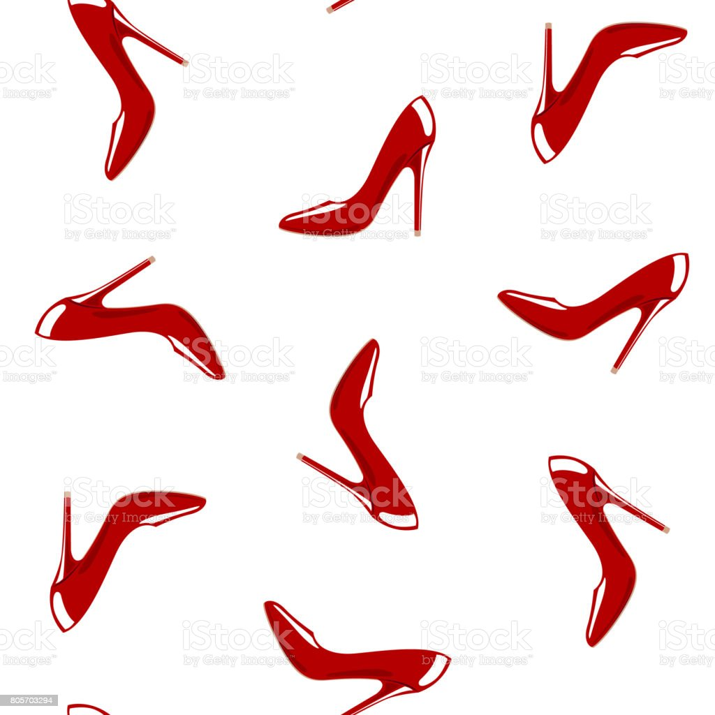 Red shoes seamless pattern. Vector illustration with isolated design elements stock photo