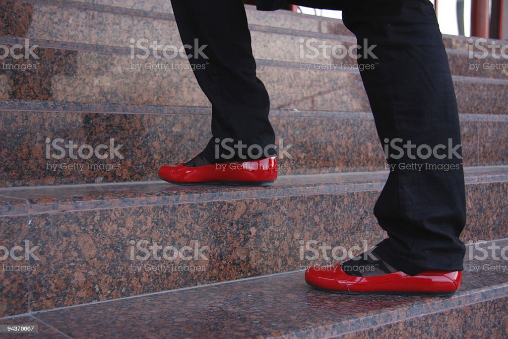 Red Shoes Steps royalty-free stock photo