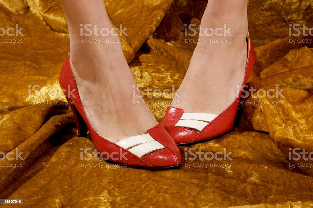 Red shoes with white detail. royalty-free stock photo