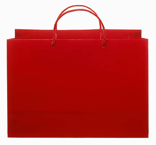 Rote Einkaufstasche-Schnitt auf Weiß – Foto