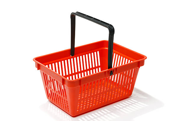 Red shopping basket Red shopping basket, isolated on white background shopping basket stock pictures, royalty-free photos & images